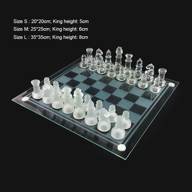 Jeu d'échecs style cristal 20x20/25x2 5/35x35cm 3