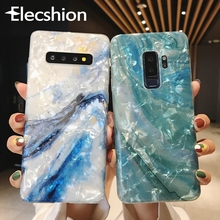 Luxury Shell Marble Phone Case For Samsung S8 S9 Plus Note Glossy Cover Galaxy S10e 10P 9 Blue Capa