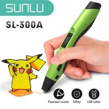 SUNLU – stylo d'impression 3D 300A ABS PCL PLA, Filament 1.75mm, câble USB, cadeau de noël pour enfant