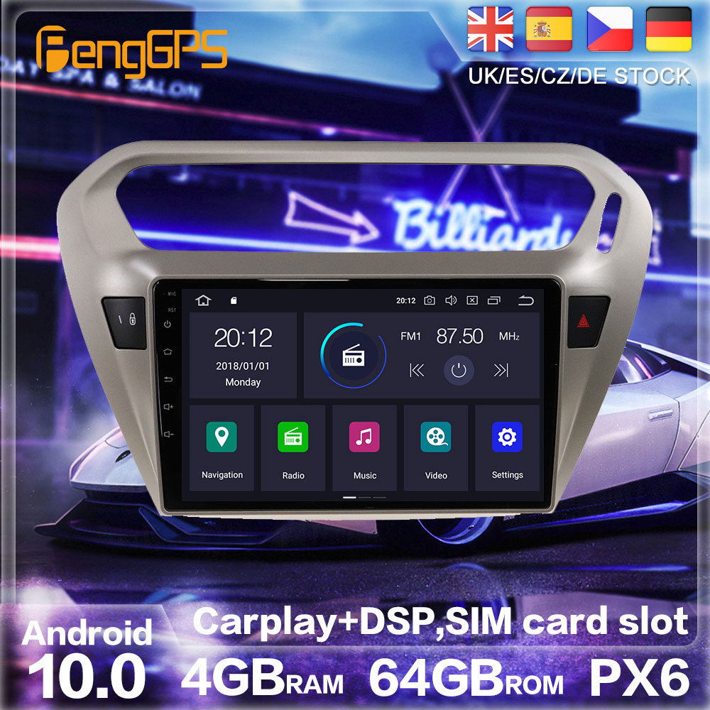 Android 10.0 PX6 Radio Stereo For <font><b>Peugeot</b></font> <font><b>301</b></font> Citroen Elysee GPS Navigation Car DVD Player Multimedia Auto Radio Player HeadUnit image