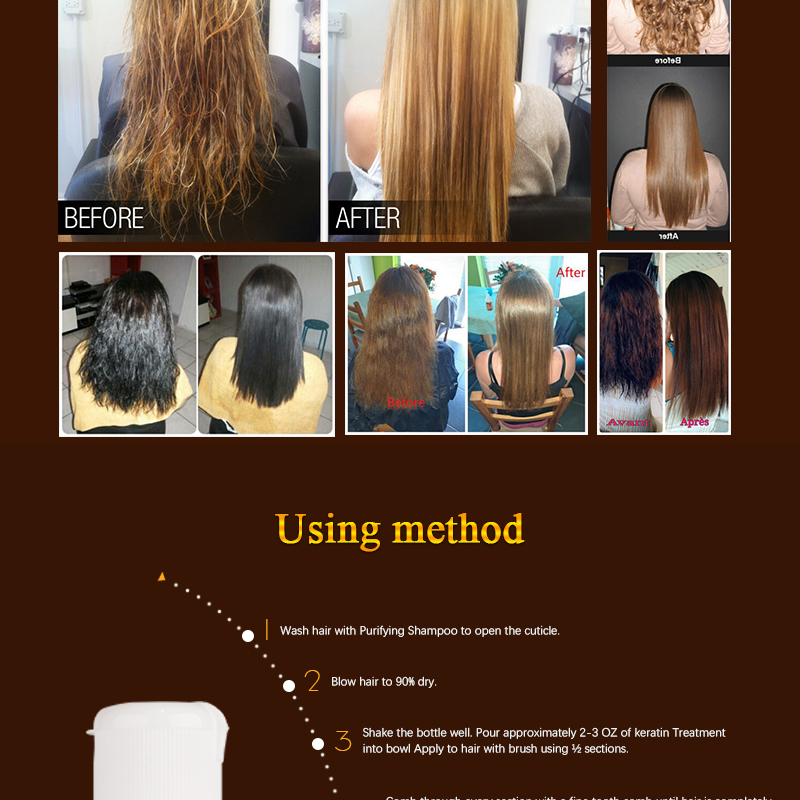100ml Purifying Shampoo +100ml Chocolate Keratin Treatment 8% Formalin Straightening+ Hair Flat Iron Smoothing Hair Care Tools