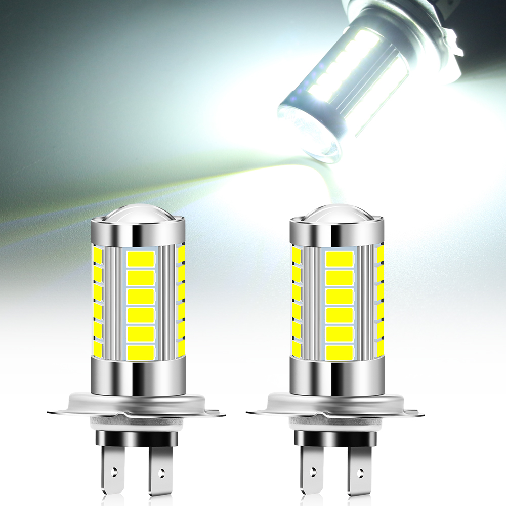 2x H7 bombilla LED luz del coche faro Luz de niebla accesorios para audi a4 b6 b7 b8 a3 8p 8v a6 c6 para vw passat b5 b6 b7 golf 4 5 5 5 6 6 7 Bombillas (LED) de faros delanteros    -