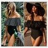 2021 New Sexy Off The Shoulder Solid Swimwear Women One Piece Swimsuit Female Bathing Suit Ruffle Monokini Swim Wear XL 1