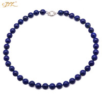 JYX Natural Lapis Lazuli Necklace Perfectly Round Size10mm and Length 28inch Religious Jewelry Free Shipping Factory Price