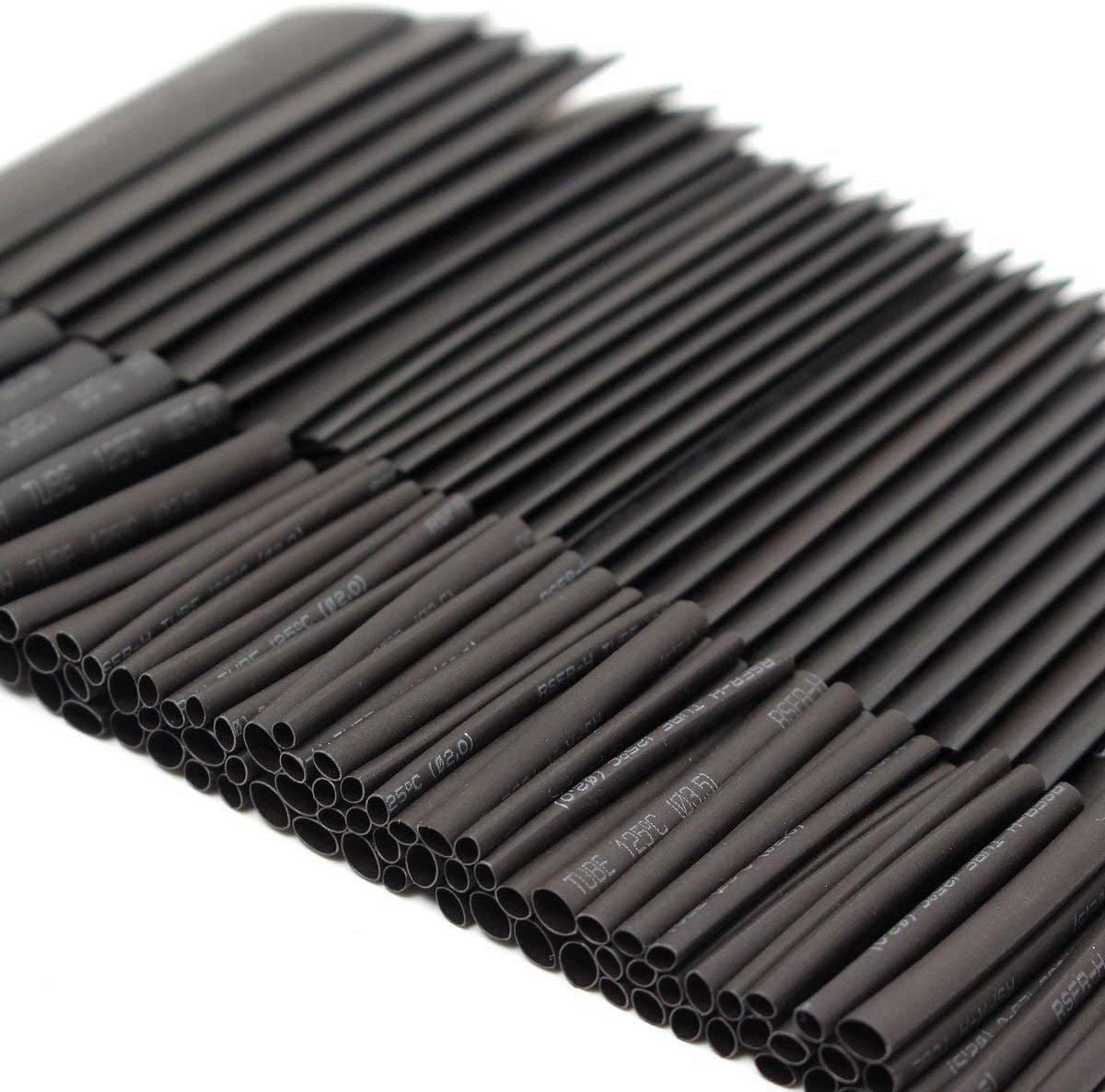 127PCS Heat Shrink Sleeving Tube Assortment Kit Electrical Connection Electrical Wire Wrap Cable Waterproof Shrinkage 2:1 Black