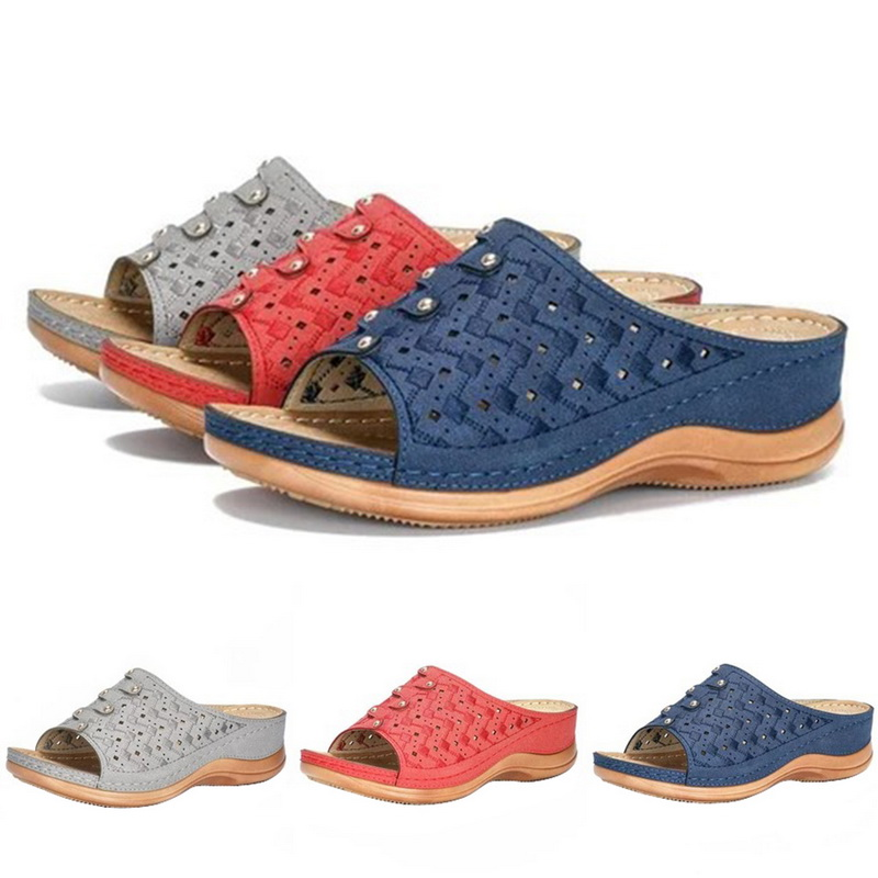 Vertvie Summer Women Slippers Rome Retro Casual Shoes Thick Bottom Wedge Open Toe Women Sandals Beach Slip On Slides Female