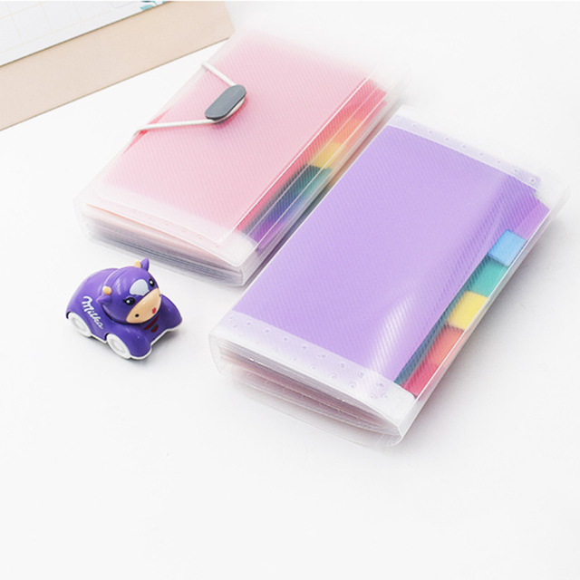 A6 Plastic Portable File Folder Extension Wallet Bill Receipt File Sorting Organizer Office Storage Bag Folders Filing Products 4
