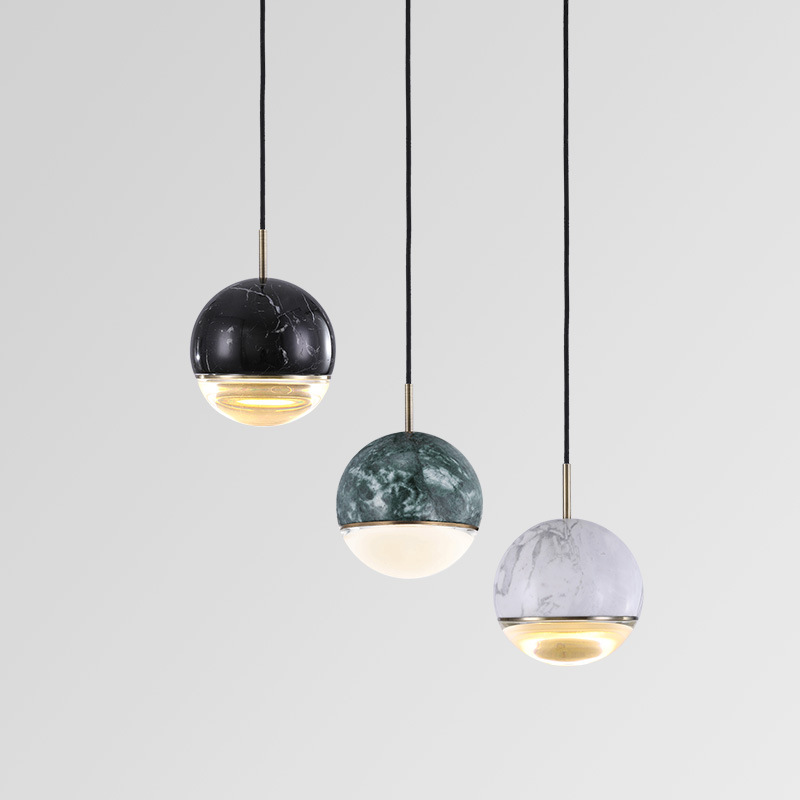 Modern Marble Ball LED Pendant Lamps Nordic Simple Dining Room Bar Bedside Kitchen Hanging Light Home Decor Hanglamp Luminaire