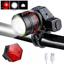 Lampe de vélo Rechargeable USB étanche Fornt 5 Modes T6 + COB LED avertissement de sécurité nocturne