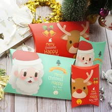 2 Size Christmas Santa Claus Elk Say Hello Red Blue Pillow Paper Box Christmas Party Gift Decoration Candy Chocolate Packaging say hello
