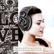 Wireless Bluetooth 5.0 Headphones Over Ear Headest Graffiti Design Foldable Headphone with Mic Hi-Fi Stereo For Phone PC Laptop(China)
