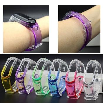 Rainbow Transparent Wrist Strap for Xiaomi Mi Band 5 4 3 Breathable Silicone Straps  Wrist Band Bracelet Wristband Straps 1