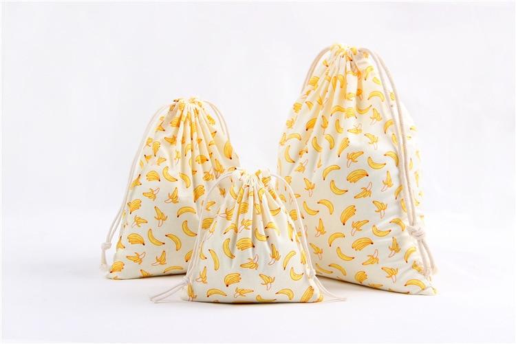 3Pcs/Set Drawstring Bags Eco Reusable Folding Canvas Bags Grocery Cloth Underwear Pouch Case Travel Home Storage