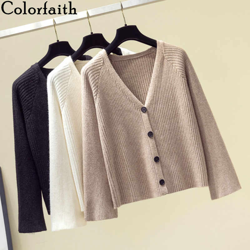 Colorfaith New 2019 Autumn Winter Women Sweaters Single Breasted Button Knitting Korean Style Minimalist Cardigans Tops SW8833