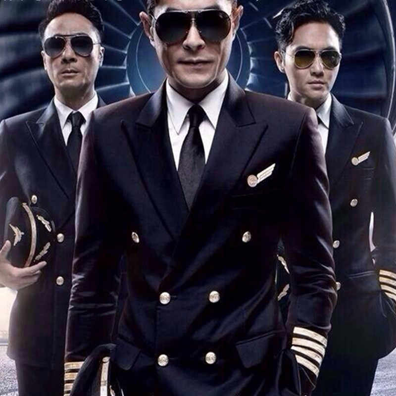 Nowy mundur lotniczy męski personel garnitur kostium wydajność garnitury mężczyźni odzież mundury kapitana linii lotniczych