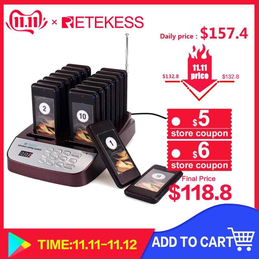 Retekess T113S ресторан пейджер Беспроводная система подкачки очередей 16 вызова Coaster пейджер зуммер 999 канал ресторанное оборудование