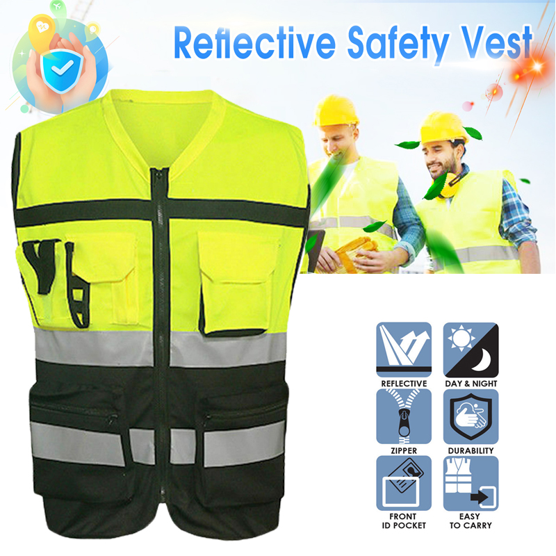 High Visibility Safety Vest Reflective Driving Jacket Night Security Waistcoat With Pockets For Work Run|Safety Clothing| |  - title=