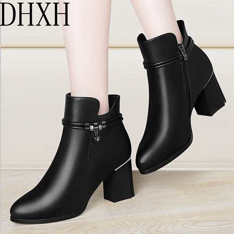 Spring and autumn new women's high heels and short boots mother wild square root women