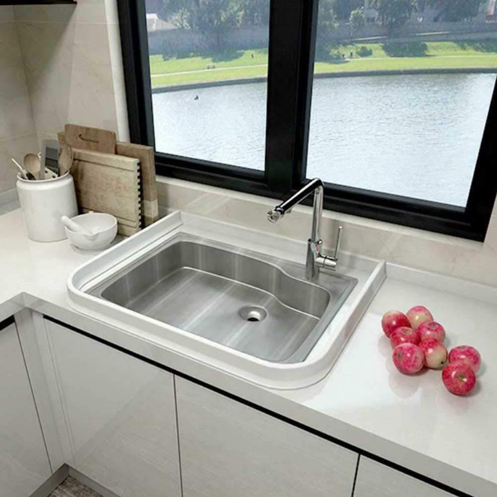 obturateur de barrage deau de seuil de douche Bande imperm/éable pliable de silicone 50CM,blanc arr/êt d/écoulement deau de joint de plancher de salle de bains
