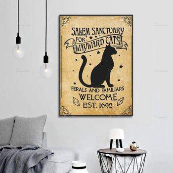 Salem Sanctuary For Wayward Cats Poster, Cat And Skulls Poster, Black Cat Wall Decor, Halloween Poster, Witch With Brooms Print image