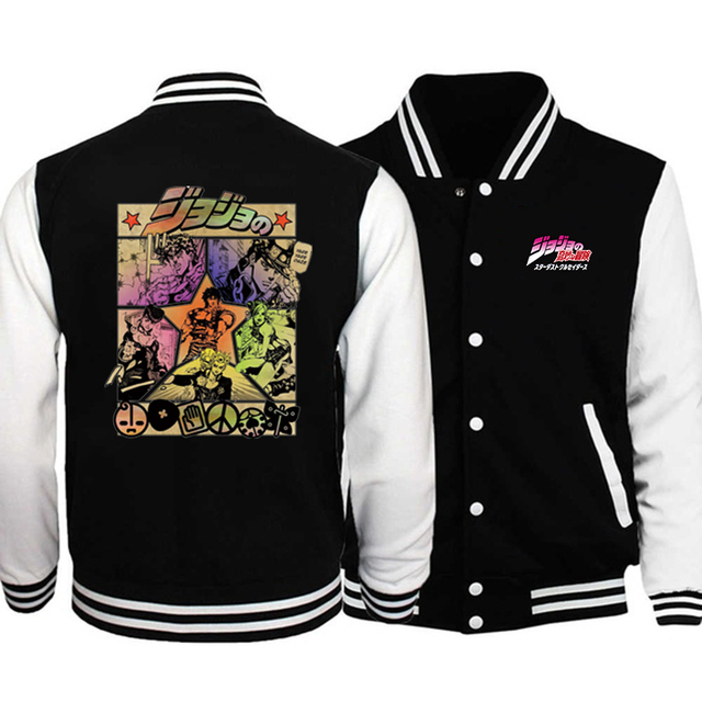 Jojo's Bizarre Adventure Baseball Jacket Fashion Capless  Tops Casual Coat Hip Hop Sweatshirt Hoodie