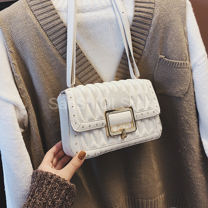 Lattice Diamond Ladies Sling Crossbody Bags Women Leather Luxury Handbags Rivet Female Shoulder Bag Sac Purses Red White Clutch
