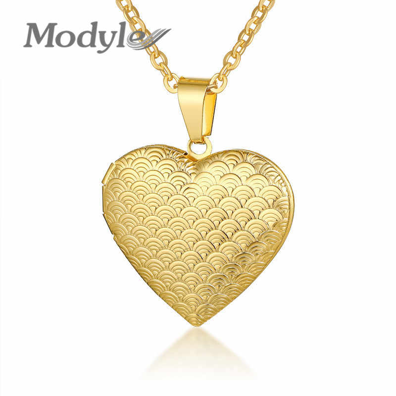 Modyle Heart Locket Pendants Necklaces For Women Gold Color Stainless Steel photo frame Valentine lovers Necklace