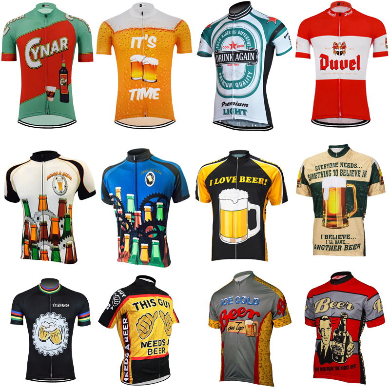 New Men's Cycling Jersey Long Sleeve Classic Retro Beer Short Sleeve Bicycle Cycling Clothing Bike Wear Clothes Maillot Ciclismo