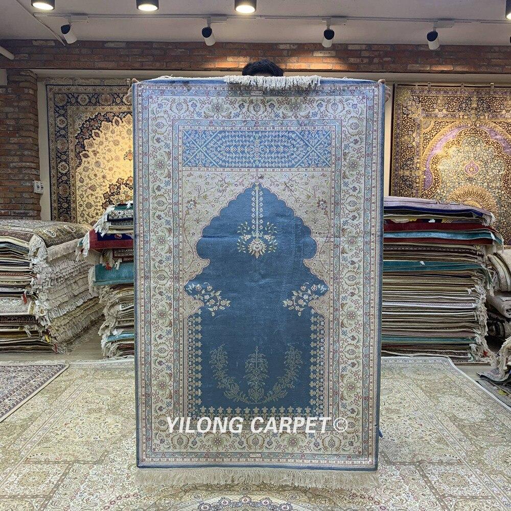 Yilong 3'x5 'tapis de prière en soie persane fait à la main tapis de prière musulman Vintage (HF214B)