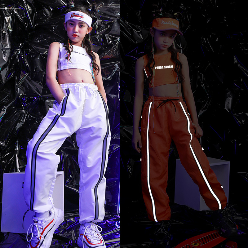 Hip Hop Costumes Reflective Vest Pants Girls Cheerleader Clothing Children Jazz Performance Wear Modern Stage Rave Outfit DN5015