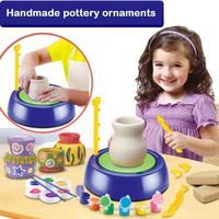 Children DIY Toys Portable Gift Mini Plastic Pottery Wheel Ceramic Machine Educational Kids Craft Arts Electric Handmake