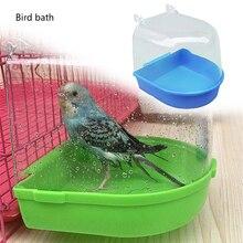 Новинка, подушка для ванны с птицей, коробка для ванны, инструмент для чистки птиц, клетка, аксессуары для ванны с попугаем, прозрачный пластиковый подвесной Душ для ванной