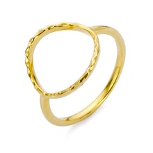 New Arrival Hot Sale 316L Stainless Steel Gold Silver Hammer Finger-Rings US7 Round Fashion Jewellery Gift for Women(China)