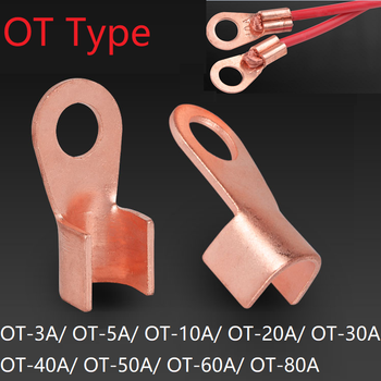 OT Type 3A 5A 10A 20A 30A 40A 50A 60A 80A Wire Terminal Red Copper Bare Nose Lugs Crimp Open Mouth Cable End Connector Splice image