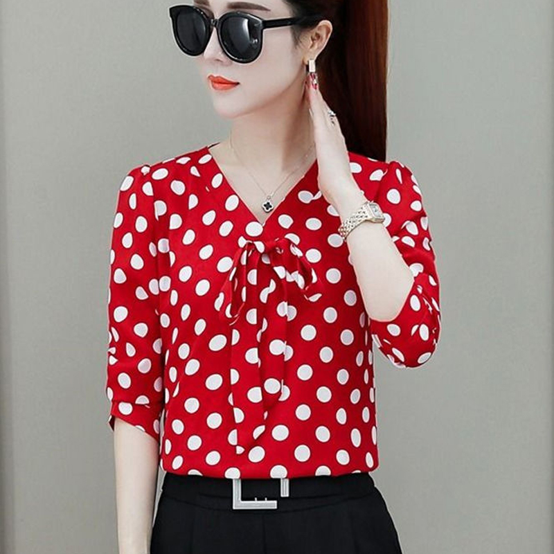 Bow Tie Long Sleeve Blusa V Collar Polka Dot Blouses Shirt Casual 2019 New Feminine Elegant Women Tops Camisas Mujer 66i6