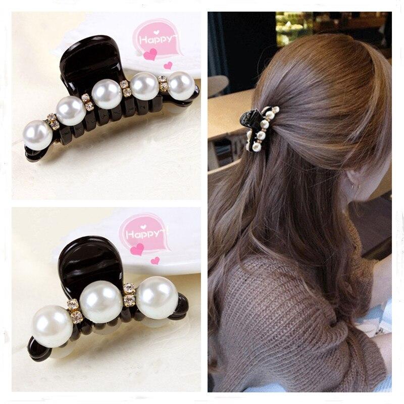Hot 1pc Claw Hair Clip Pearl Rhinestone Women Big Hair Pin Crab Hair Claws Girls Head-wear Hair Styling Accessories