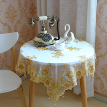 European Lace Fabric Gold Embroidery Beaded Pendant Tablecloth Home Hotel Villa Balcony Small Round Table Luxury Cover Tapete