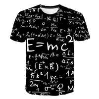 Camiseta divertida de la fórmula de la física de las matemáticas camiseta 3D de cuello redondo de los hombres camisetas de marca suelta 3D Streetwear Geek Camisetas de los hombres