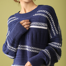LHZSYY Autumn Winter New Women' Knit Striped Sweater Fashion Long-sleeved O Neck Large size Pullover Warm Loose Wild Thick Shirt