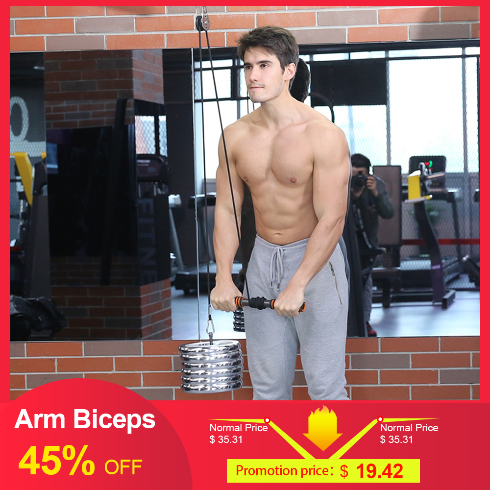 Fitness Arm Biceps Triceps Blaster Strong Power Stick Pull Rope Wrist Roller Forearm Workout Hand Gripper Strengthener Trainning image