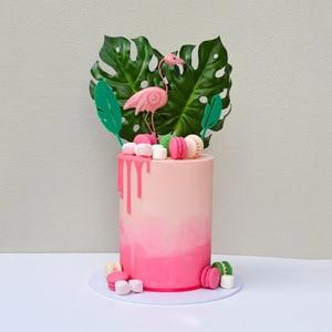 Image 2 - Листик для торта с тропическими листьями, верхушка для кексов, Летняя Вечеринка, джунгли, день рождения, гавайская вечеринка, украшение для торта