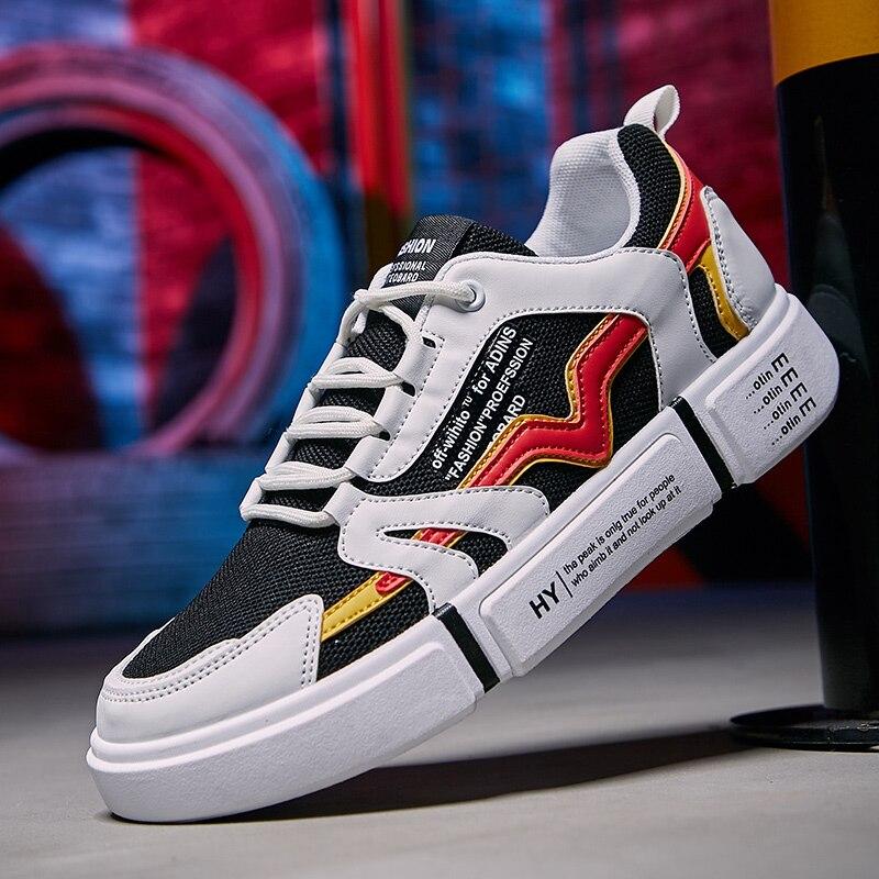 Branco vanity sapatos masculinos vulcanize sapatos casuais tênis homens malha de ar respirável tenis masculino 2020
