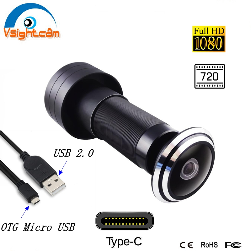 1080P Type C OTG Micro USB Door Peephole Camera USB 2.0 1.78mm Wide Angle Lens Mini Fisheye Door Hole Eye Security Camera