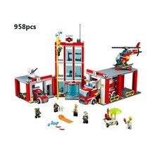 60110, 958 piezas Compatible Legoingly de la Serie estación de bomberos modelo de construcción de bloques de juguete para niños Regalo de Cumpleaños 10831