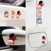 Car Sticker Car Door Anti-Collision Rubber Strips Silicone Cute Butt Bumper Sticker Cartoon Anti-Scratch Door Rearview Mirror