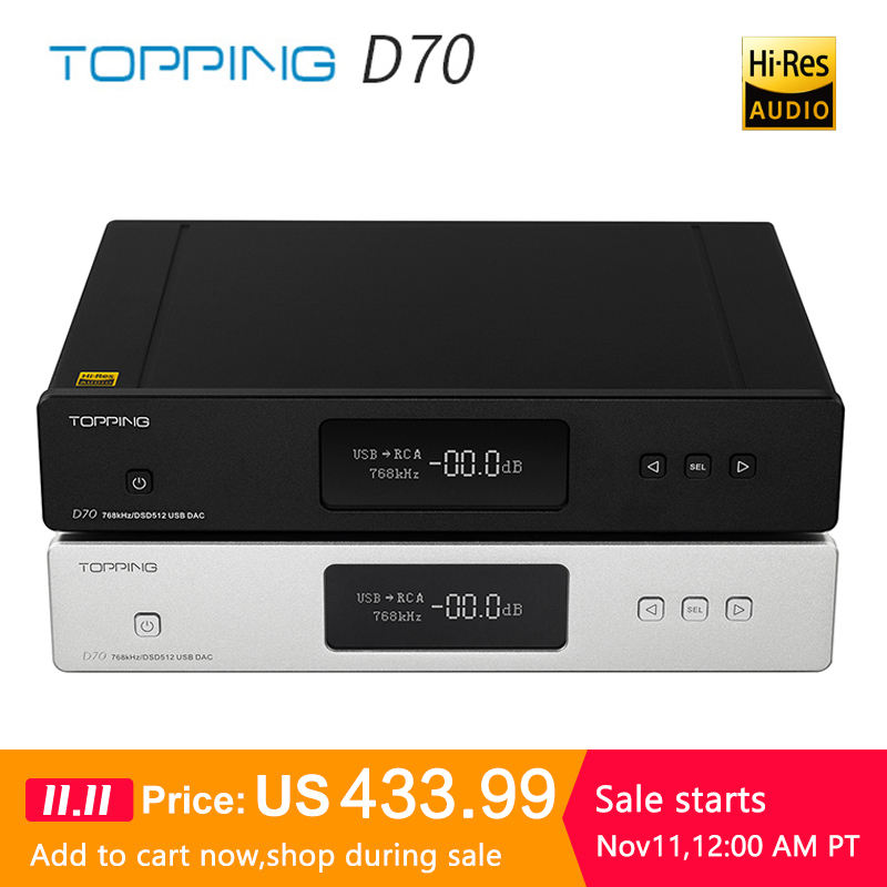 <font><b>TOPPING</b></font> <font><b>D70</b></font> AK4497*2 DAC AK4118 Receiver XMOS XU208 DSD512 Native 32Bit/768kHz Hi-Res audio with Remote Control Decoder image