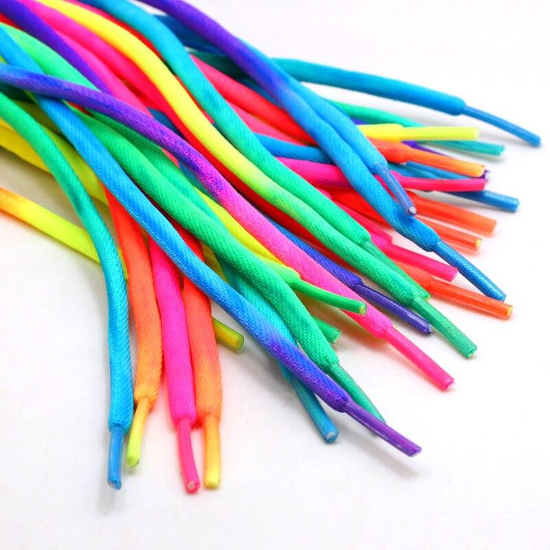 1 Pair Round Rainbow Shoelaces Canvas Athletic Shoelace Sport Sneaker Shoe Laces Strings 80CM/100CM/120CM