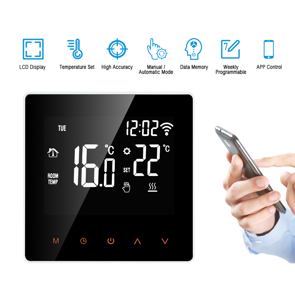WiFi Thermostat Digital APP Control Temperature Controller  With Touch Screen Programmable Electric Floor Heating Thermostat
