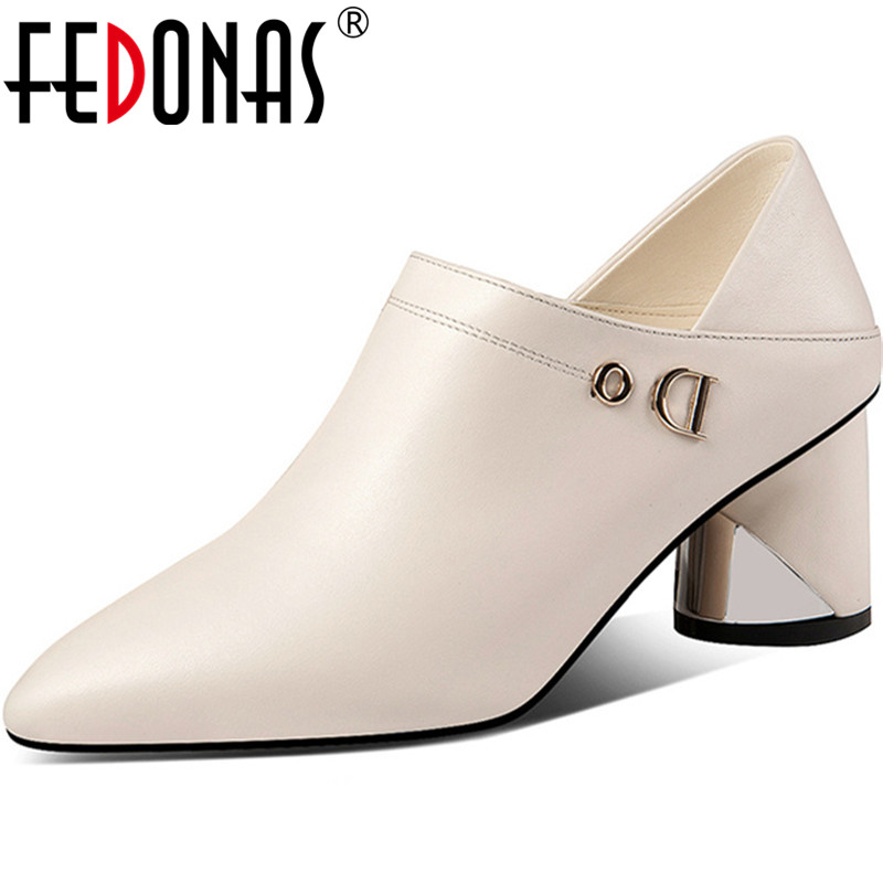 FEDONAS Women Pumps Genuine Leather Patent Leather Side Zipper Prom Shoes Spring Summer Sexy Top Quality Elegant Shoes Woman