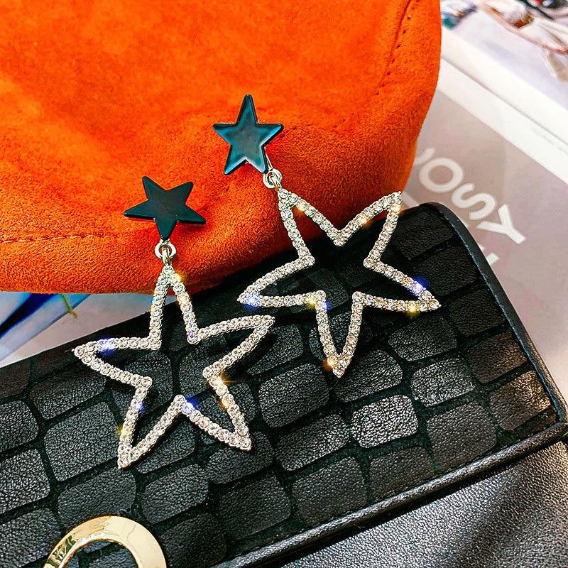 Neue Ohrringe Modus Persönlichkeit Nach Hängen Anhänger Weibliche Doppel Pentagramm Hohl Ohrringe Heißer Verkauf Schmuck Großhand
